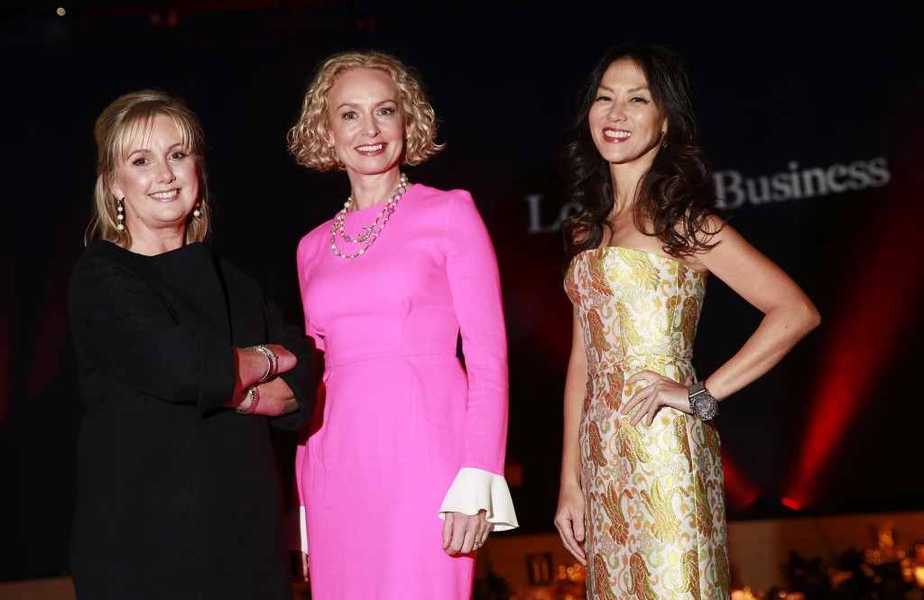 Pictured at the sell-out 11th Look the Business event hosted in the Mansion House by The Gloss Magazine, in association with Vodafone was Jane Mc Donnell, Publisher, The Gloss Magazine, Anne O Leary, CEO Vodafone Ireland and Amy Chua, author of 'The Triple Package' and 'Battle Hymn of the Tiger Mother' and Professor of Law at Yale. The event was attended by more than 580 guests from law, finance, technology, telecoms, media and recruitment. ***NO REPRO FEE** Photography: Conor Healy Photography