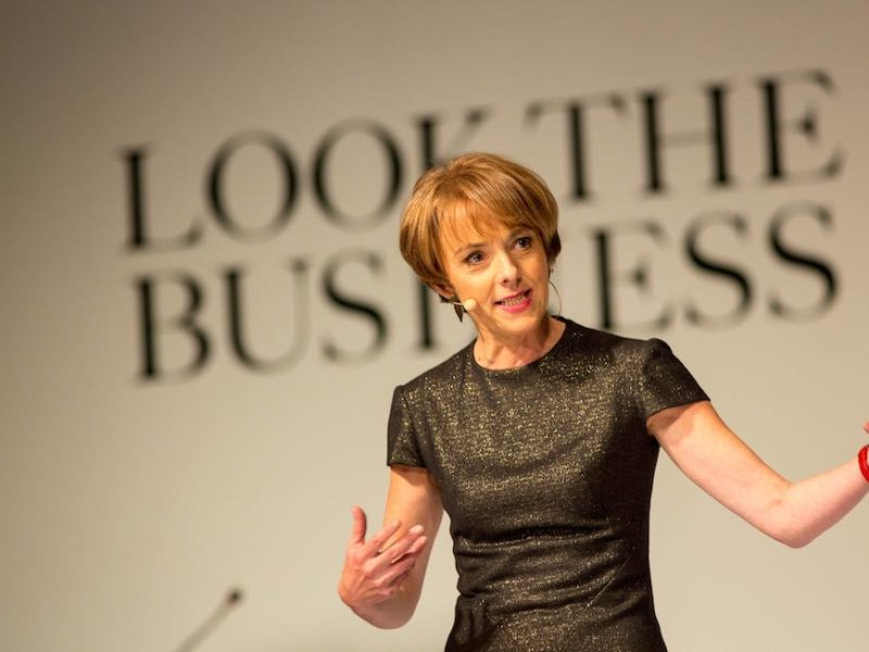 Guest speaker Lucy Kellaway from The Financial Times on stage at Look The Business 2016