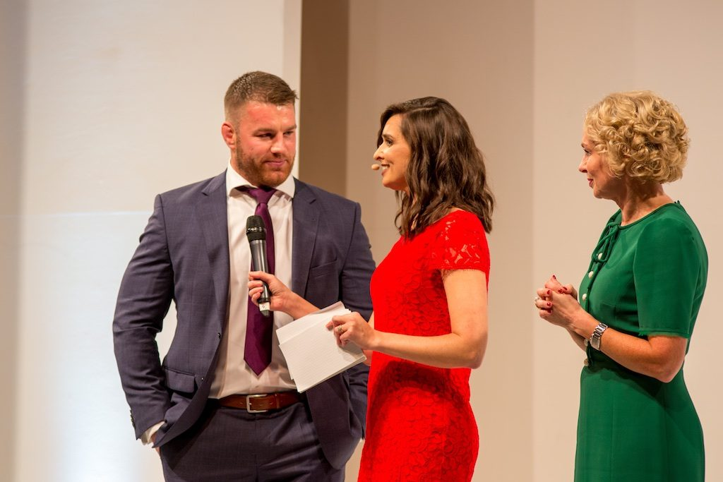 Irish rugby player Sean O'Brien, Aoibhinn Ní Shúilleabháin and Anne O'Leary, CEO of Vodafone