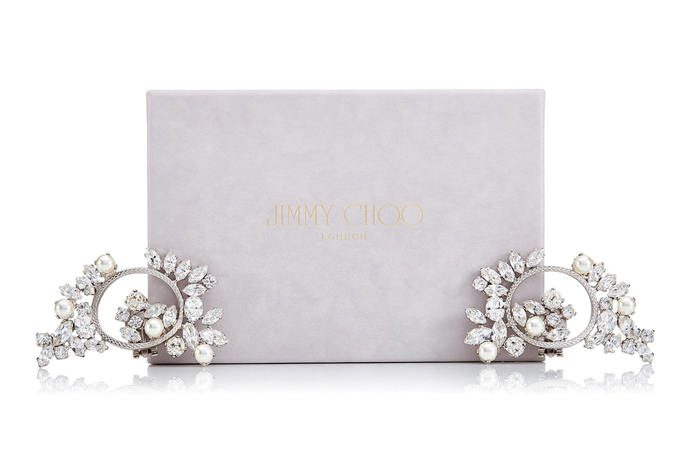 Spring crystal and pearl shoe clips, €100; www.jimmychoo.com
